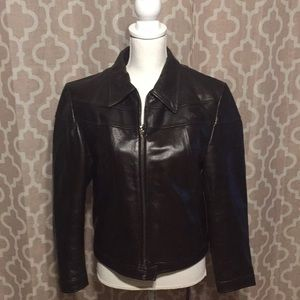 Steve Madden Sleek dark brown leather jacket  M